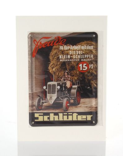 Schlüter Tractor Retro Tin Card - 8 x 11 cm - with postcard – image 1