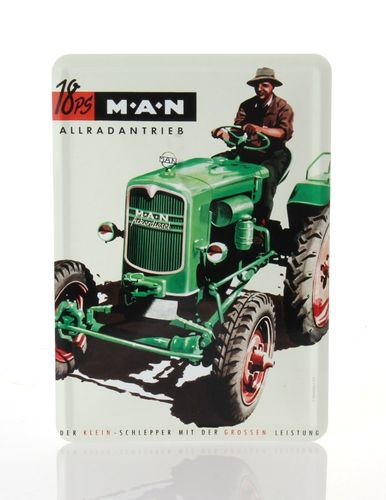 MAN 18 HP Tractor Retro Tin Card - 10 x 14 cm - with postcard – image 1