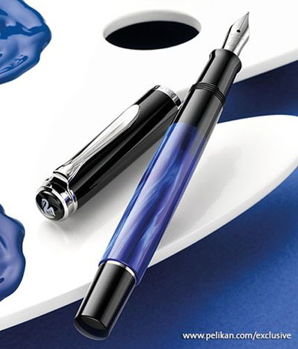 Pelikan Classic M205 Piston Fountain Pen blue-marbled - Nib EF – image 2