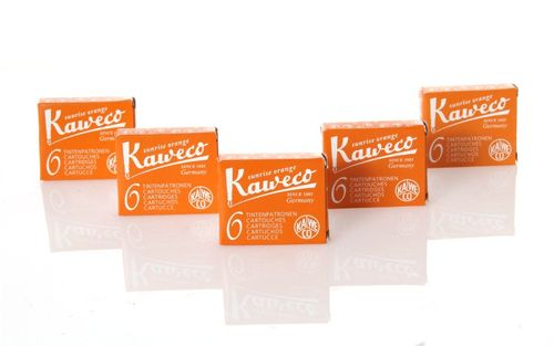 Kaweco Fountain Pen Ink Cartridges short, Sunrise Orange (Orange ), 30 pc.