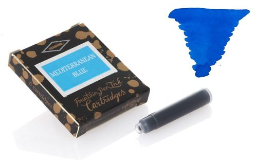 Diamine - Standard Ink Cartridges, Mediterranean Blue 6 cartridges – image 1