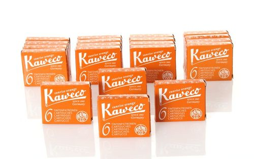 Kaweco Fountain Pen Ink Cartridges short, Sunrise Orange (Orange), 120 pc.