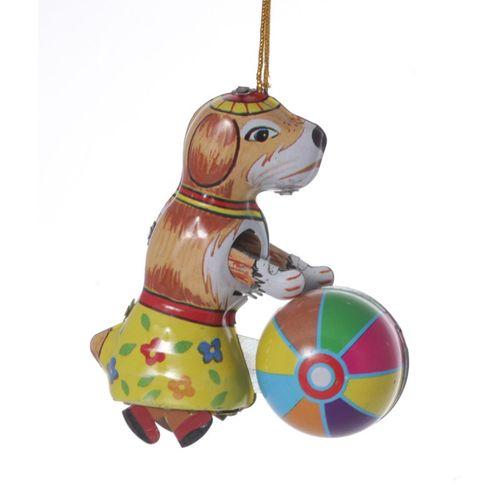 Hund mit Ball, Blechdeko - Nostalgisches Blechspielzeug