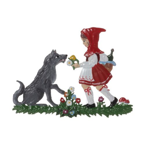 Little Red Riding Hood and the wolf, tin, for hanging - Wilhelm Schweizer