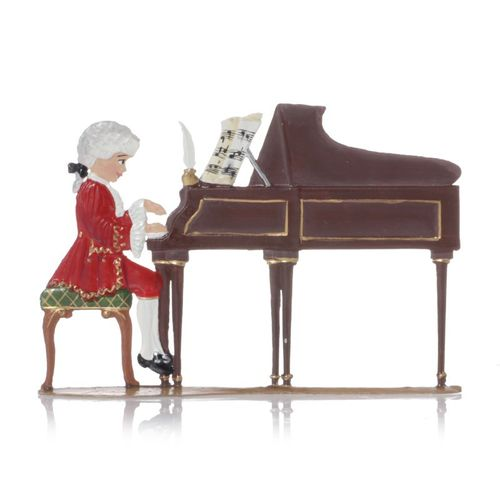Child Mozart at the piano, made of pewter - Wilhelm Schweizer - – image 1