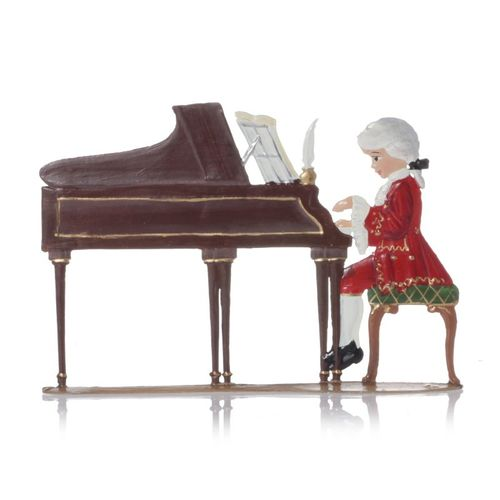 Child Mozart at the piano, made of pewter - Wilhelm Schweizer - – image 2