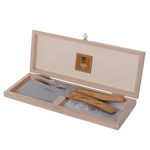 Claude Dozorme Hard Cheese Knife and Fork Set, Olive Wood, Thiers, Beechwood Box – image 1