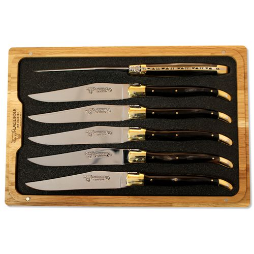 Laguiole en Aubrac Steak Knife Set,6 parts,Horn Handle,Brass Bolsters,C2C99CPL – image 1