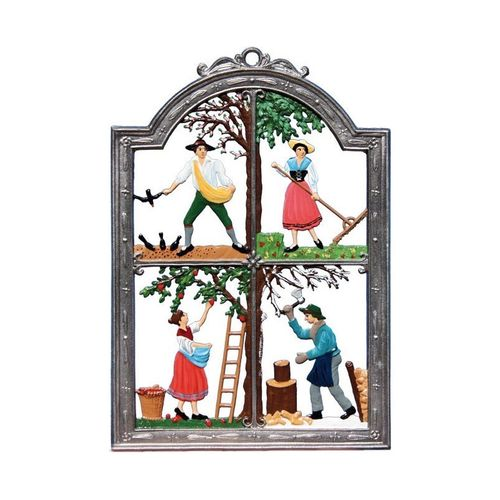 Four Seasons, Workers, window painting from tin - Wilhelm Schweizer -