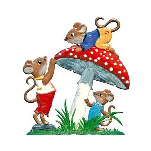 Mice play on the mushroom, made of pewter - Wilhelm Schweizer -