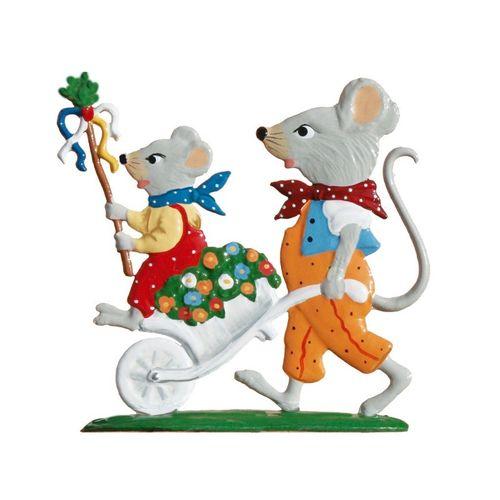 Maus mit Schubkarren, Standfigur aus Zinnlegierung - Wilhelm Schweizer