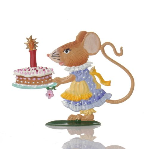 Mouse lady with cake, made of pewter - Wilhelm Schweizer -