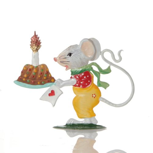 Mouse boy with cake, made of pewter - Wilhelm Schweizer -