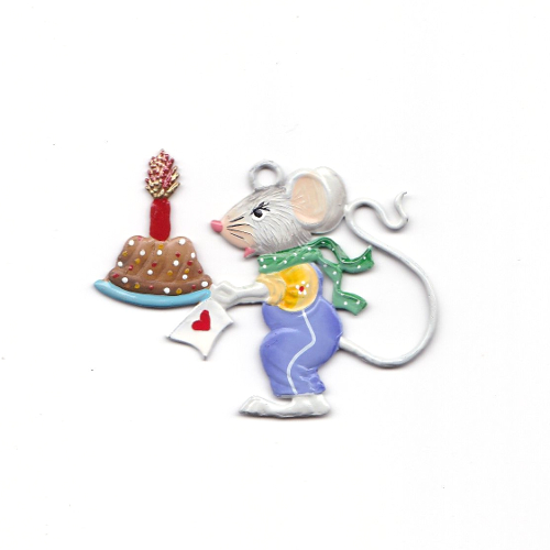 Pendant of pewter, Mouse boy with cake - Wilhelm Schweizer -