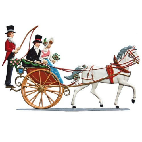 Carriage with bridal couple, made of pewter - Wilhelm Schweizer -