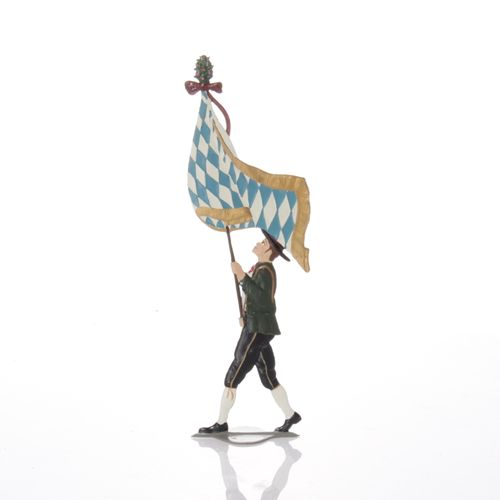 Man carries flag, made of pewter - Wilhelm Schweizer -