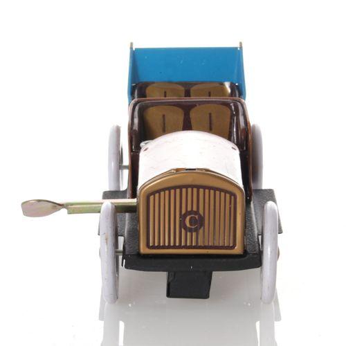 Oldtimer mit Faltdach, Aufziehwerk - Mechanisches Blechspielzeug – Bild 2