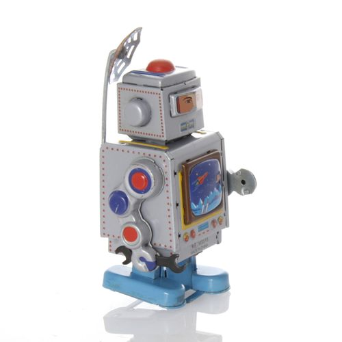 Robot with TV and antenna, wind-up - Mechanical Tin Toy – image 1