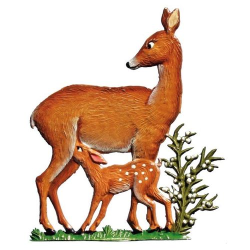 Deer with fawn, made of pewter - Wilhelm Schweizer -