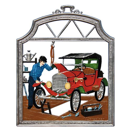 Profession Car Mechanic, window painting from tin - Wilhelm Schweizer -