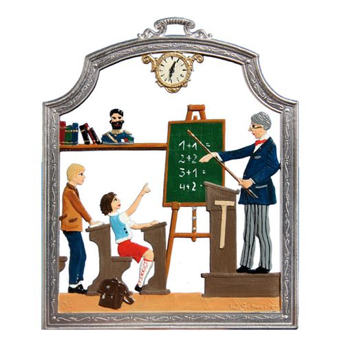 Profession Teacher, window painting from tin - Wilhelm Schweizer -