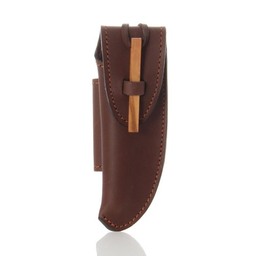 Max Capdebarthes Pocket Knife Sheath, Laguiole Trappeur 12 cm, Choco (brown)