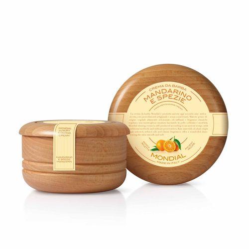 A. B. Mondial - Mandarine und Gewürze - Luxury Rasiercreme, Holzschale, 140ml