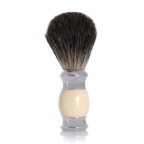 GOLDDACHS Rasierpinsel, 100% Dachshaar, weiß/silber