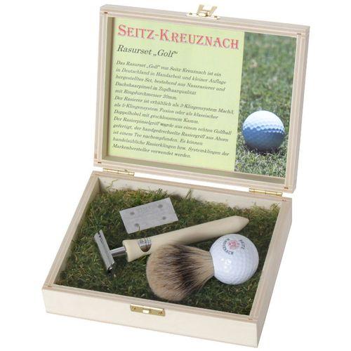 "Seitz-Kreuznach Rasierset ""Golf"", Rasierhobel, Silberspitz, Holzschatulle – Bild 1"