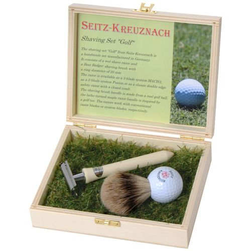 "Seitz-Kreuznach Shaving Set ""Golf"", Safety razor, Silvertip, wooden casket – image 1"