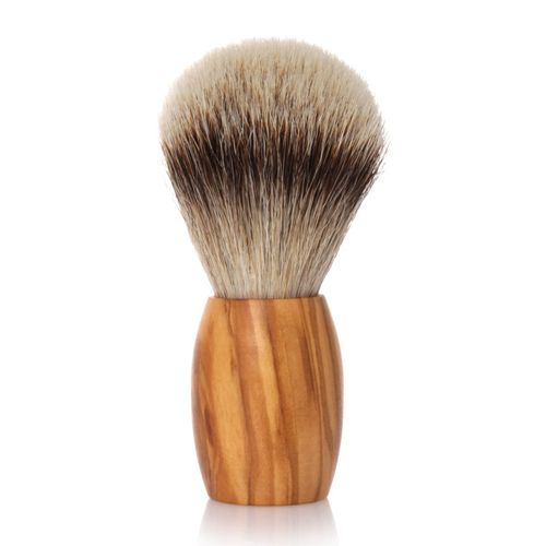 GOLDDACHS Shaving brush, Silvertip, olive wood