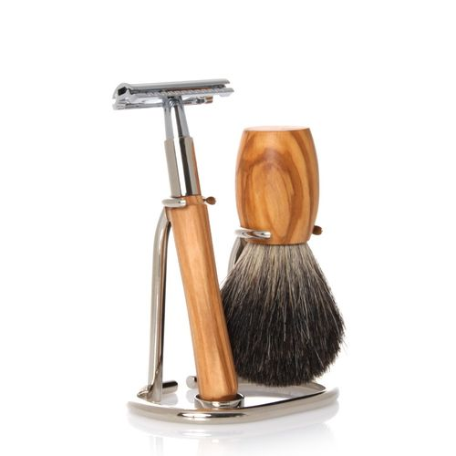 GOLDDACHS Shaving Set, Safety razor, 100% badger hair, olive wood – image 1