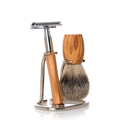 GOLDDACHS Shaving Set, Safety razor, Finest Badger, olive wood – image 1