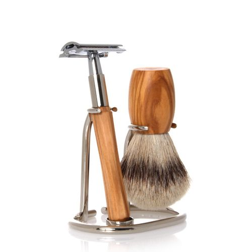 GOLDDACHS Shaving Set, Safety razor, Silvertip, olive wood – image 1