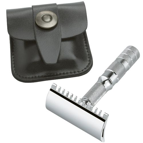 MERKUR Solingen - Travel safety razor, leather case, open comb, 90985000 – image 1