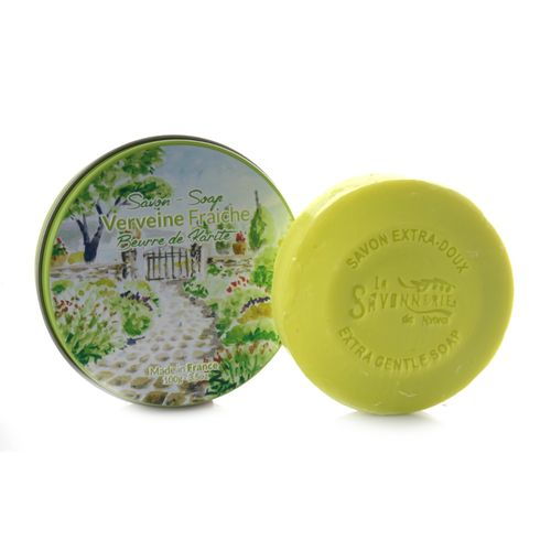 La Savonnerie de Nyons – Soap with Verbena in round Metal Tin, 100 g