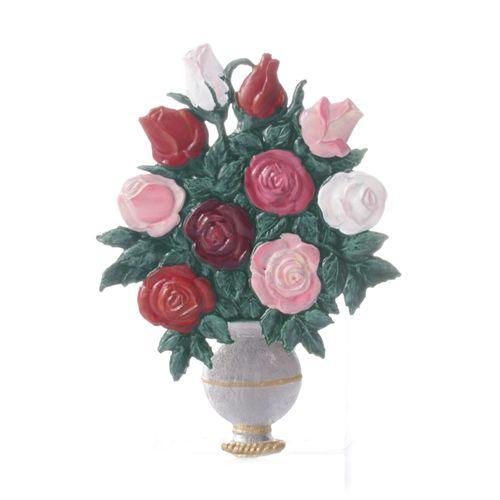 Pewter Pendant, Flower Vase Roses/Summer 7 cm - Wilhelm Schweizer