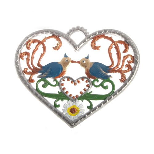 Pewter Pendant, Heart with Birds 6 x 7 cm - Wilhelm Schweizer