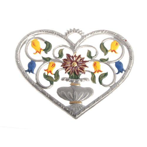 Pewter Pendant, Heart with Vase 6 x 7 cm - Wilhelm Schweizer