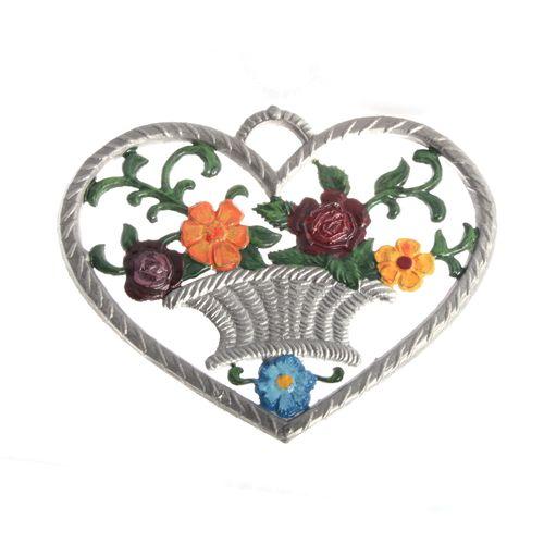 Herz mit Blumenkorb 6 x 7 cm, Anhänger aus Zinnlegierung - Wilhelm Schweizer