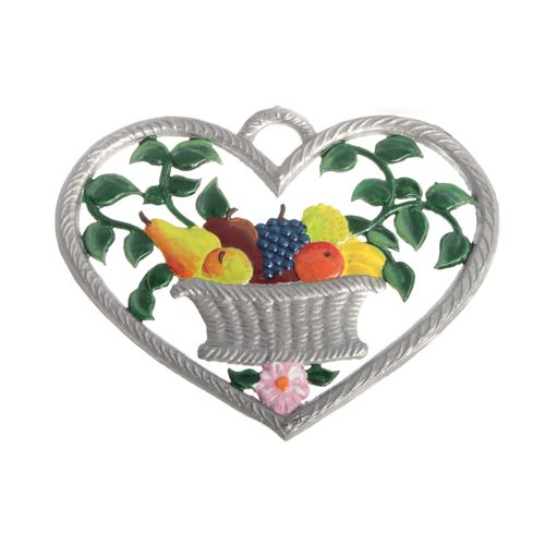 Pewter Pendant, Heart with Fruit Basket 6 x 7 cm - Wilhelm Schweizer