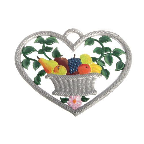 Herz mit Obstkorb 6 x 7 cm, Anhänger aus Zinnlegierung - Wilhelm Schweizer