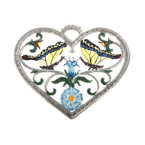 Herz mit Schmetterling 6 x 7 cm, Anhänger aus Zinnlegierung - Wilhelm Schweizer
