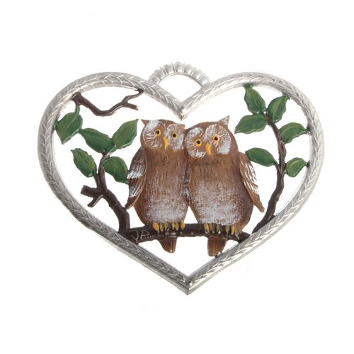Pewter Pendant, Heart with Owls 6 x 7 cm - Wilhelm Schweizer