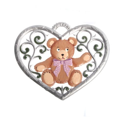 Pewter Pendant, Heart with Teddy Bear 6 x 7 cm - Wilhelm Schweizer