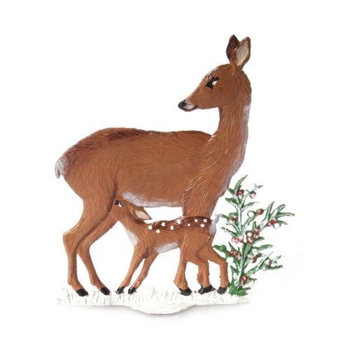 Made of Pewter, Deer with Fawn Winter 7 x 6 cm - Wilhelm Schweizer -