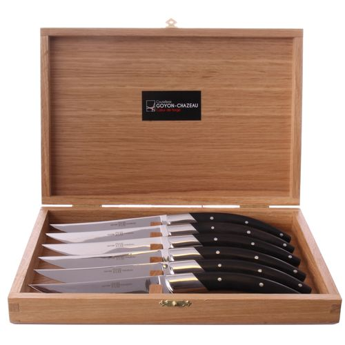 GOYON-CHAZEAU Table Knife Set of 6, Stylver, Ebony wood, stainless