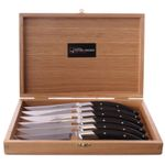 GOYON-CHAZEAU Table Knife Set of 6, Stylver, Ebony wood, stainless 001