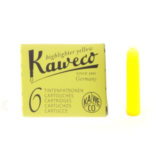 Kaweco Ink Cartridges Neon Yellow, Pack of 6, Highlighter Ink