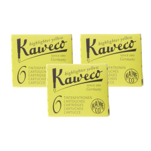Kaweco Ink Cartridges Neon Yellow, Pack of 18, Highlighter Ink – image 1